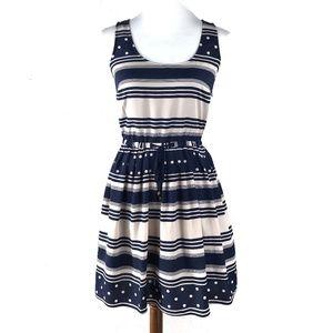 Maison Jules Blue & Light Pink Striped Dress Small